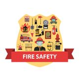 Fire Concept Flat. Fire concept with firefighter badge and safety icons flat vector illustration Royalty Free Stock Images