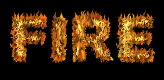 FIRE concept. The word FIRE written with letters made from fire on black background Stock Image