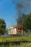 The fire of construction trailer. District of Marzahn-Hellersdorf. Stock Photography