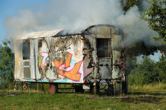 The fire of construction trailer. District of Marzahn-Hellersdorf. Stock Photos