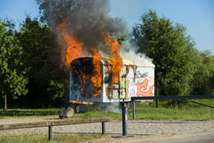 The fire of construction trailer. District of Marzahn-Hellersdorf. Royalty Free Stock Photography