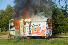 The fire of construction trailer. District of Marzahn-Hellersdorf. Royalty Free Stock Photos