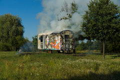 The fire of construction trailer. District of Marzahn-Hellersdorf. Stock Image