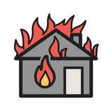 Fire Consuming House. Fire, house, heat icon vector image. Can also be used for firefighting. Suitable for mobile apps, web apps and print media Stock Images