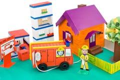 Fire control, kid's cardboard handicraft Royalty Free Stock Photos