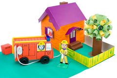 Fire control, kid's cardboard handicraft Royalty Free Stock Images