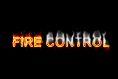 Fire control (Text serie). A fired word/phrase from a text effect serie isolated on a black background Stock Photos