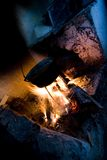 Fire cooking. Make food in a old romanian village Stock Image