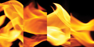 Fire for cooking is blazing. Stock Image
