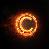 Fire copyright icon Stock Images