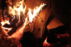 Fire burning in the hearth Stock Image
