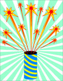 Fire cracker. Blue yellow fire cracker. Vector illustration Royalty Free Stock Photos