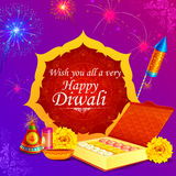 Fire cracker with decorated diya for happy Diwali holiday of India. Vector illustration of colorful fire cracker with decorated diya for Happy Diwali holiday of Royalty Free Stock Photography