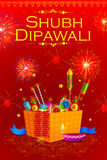 Fire cracker with decorated diya for happy Diwali holiday of India. Vector illustration of colorful fire cracker with decorated diya for Happy Diwali holiday of Stock Photo