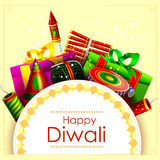 Fire cracker with gift for Happy Diwali holiday background. Easy to edit vector illustration of fire cracker with gift for Happy Diwali holiday background Royalty Free Stock Images