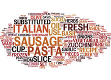 Fire Cracker Italian Sausage Pasta Text Background  Word Cloud Concept Royalty Free Stock Image
