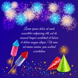 Fire Cracker Wotks Background. Fireworks background composition with ornate firework display images of firecrackers party hats and confetti with text vector Stock Photos