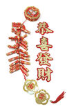 Fire Crackers and Chinese Greetings Stock Photography