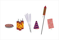 Fire Crackers - isolated illustration. Fire Crackers for the festive fun - design elements Royalty Free Stock Photo