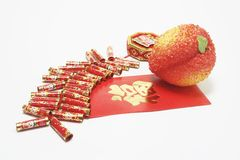 Fire Crackers and Red Packet Royalty Free Stock Photos