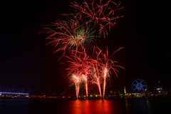 Fire crackers show in Melbourne Royalty Free Stock Photo