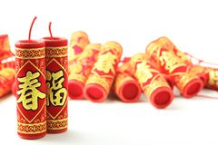 Fire Crackers on White stock photos