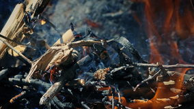 Fire Crackling Outside Closeup stock video footage