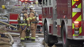 Fire Crews at the Scene of a House Fire (3 of 5) stock video footage