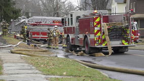 Fire Crews at the Scene of a House Fire (4 of 5) stock footage