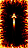 Fire Cross. Image of a christian cross with fire frame Stock Photography