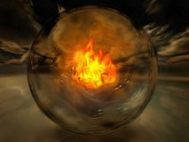 Fire. Crystal sphere with fire inside royalty free stock photography