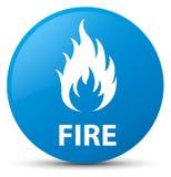 Fire cyan blue round button Stock Photo