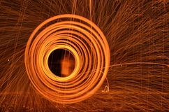 Fire cyclone steel wool photography Stock Photo