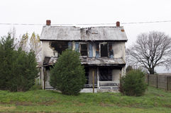 Fire Damage. D house with ruined roof and walls Stock Images