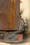 Fire Damage. Welded metal abstract with soot from heat Royalty Free Stock Photos