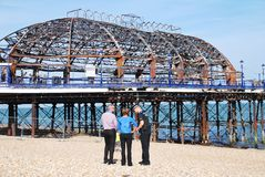 Fire damage at Eastbourne Pier Stock Photo