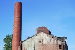 Fire damage structure abandoned chimney building ruins Royalty Free Stock Photo