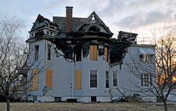 Fire damage on a victorian home. Image of a Victorian home and fire damage Stock Photo