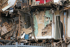 Fire damaged apartment building Royalty Free Stock Photos