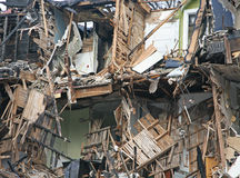 Fire damaged apartment building Stock Image