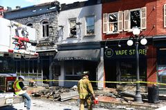 Fire damaged heritage buildings in Ottawa Byward Market stock photo