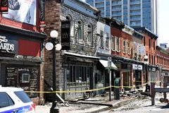 Fire damaged heritage buildings in Ottawa Byward Market royalty free stock photo