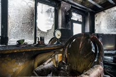 Fire damaged interior details Stock Photos