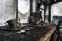 Fire damaged interior details Stock Images