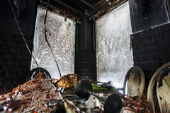 Fire damaged interior details Royalty Free Stock Photos