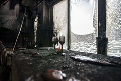 Fire damaged interior details Royalty Free Stock Photo