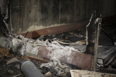 Fire Damaged Room. What is left of wall after fire Royalty Free Stock Image