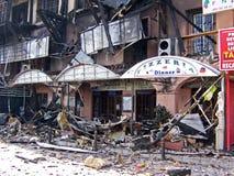 Fire damaged shops, Calahonda, Spain. Stock Photos