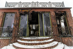 Fire damaged summer house Stock Images
