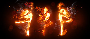 Fire dance. Rs on the black background Royalty Free Stock Photography